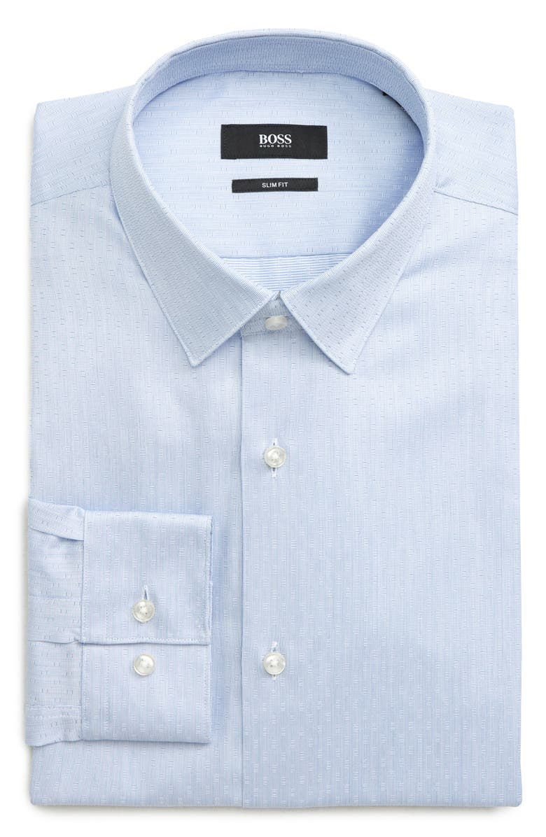 BOSS Slim Fit Geometric Dress Shirt, Main, color, BLUE