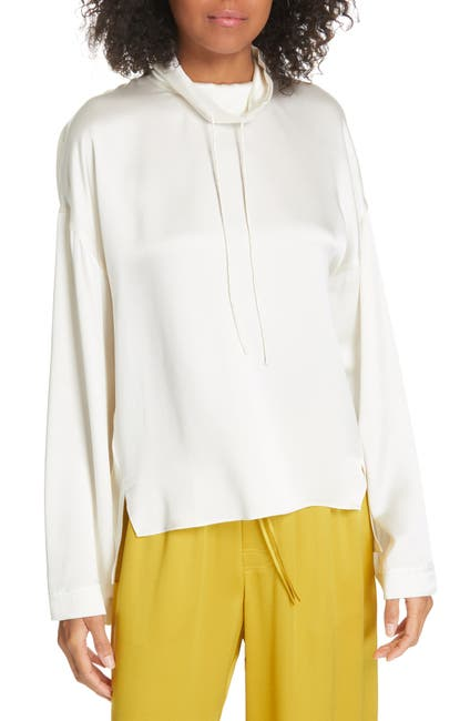 Image of Vince Drawstring Collar Silk Blouse