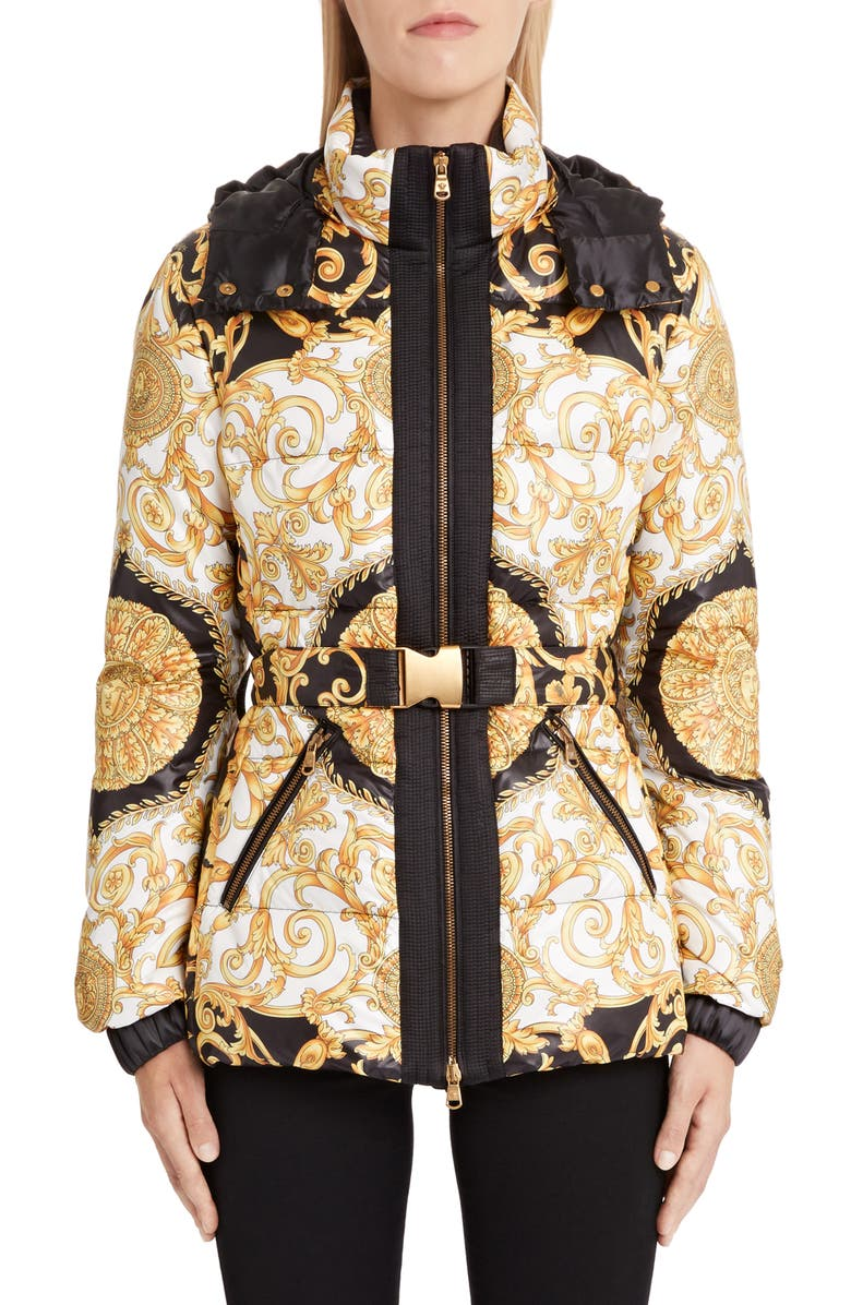 VERSACE Hibiscus Print Quilted Coat, Main, color, 008