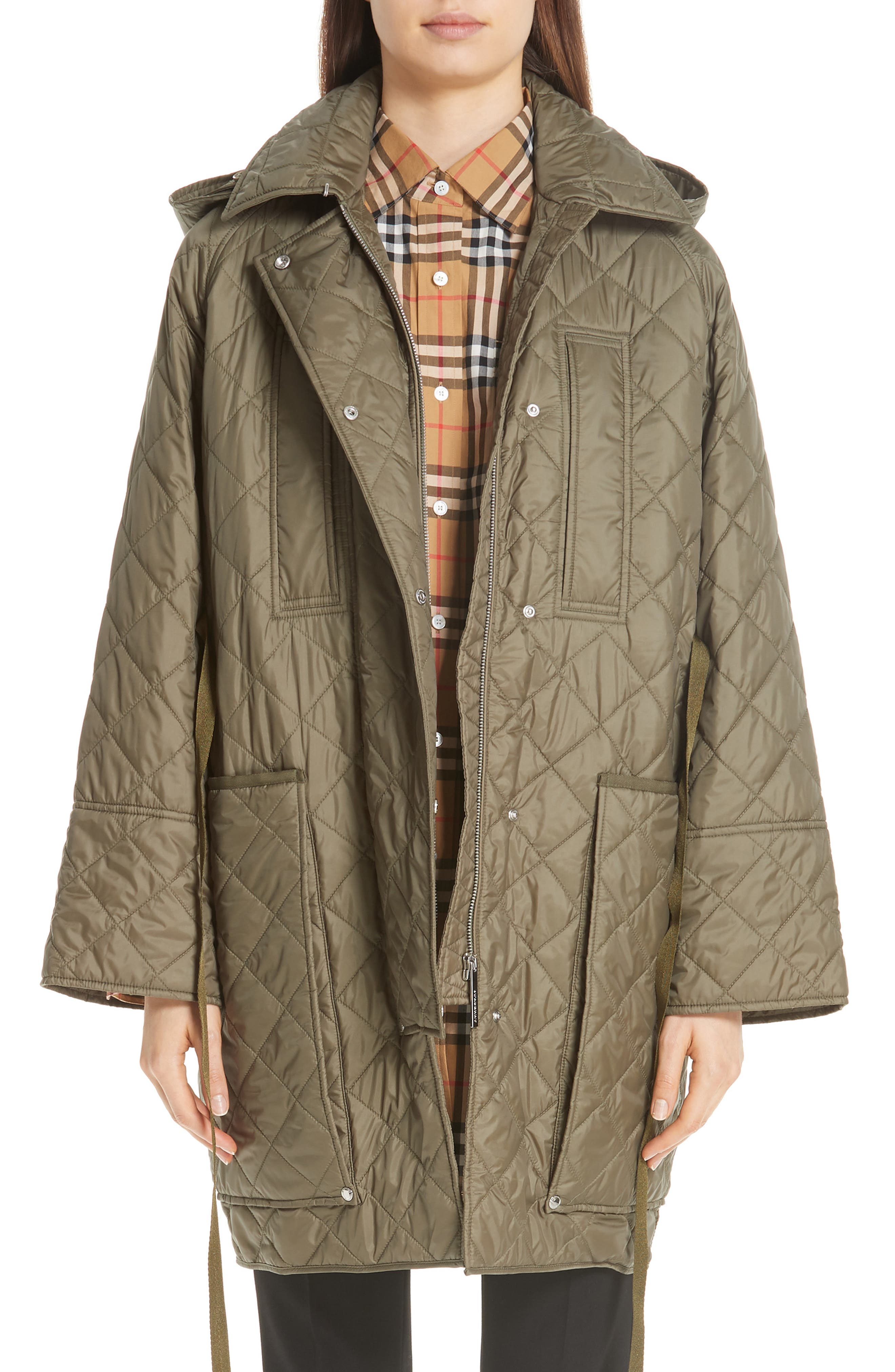 Coleraine Quilted Drawstring Jacket, Main, color, CADET GREEN