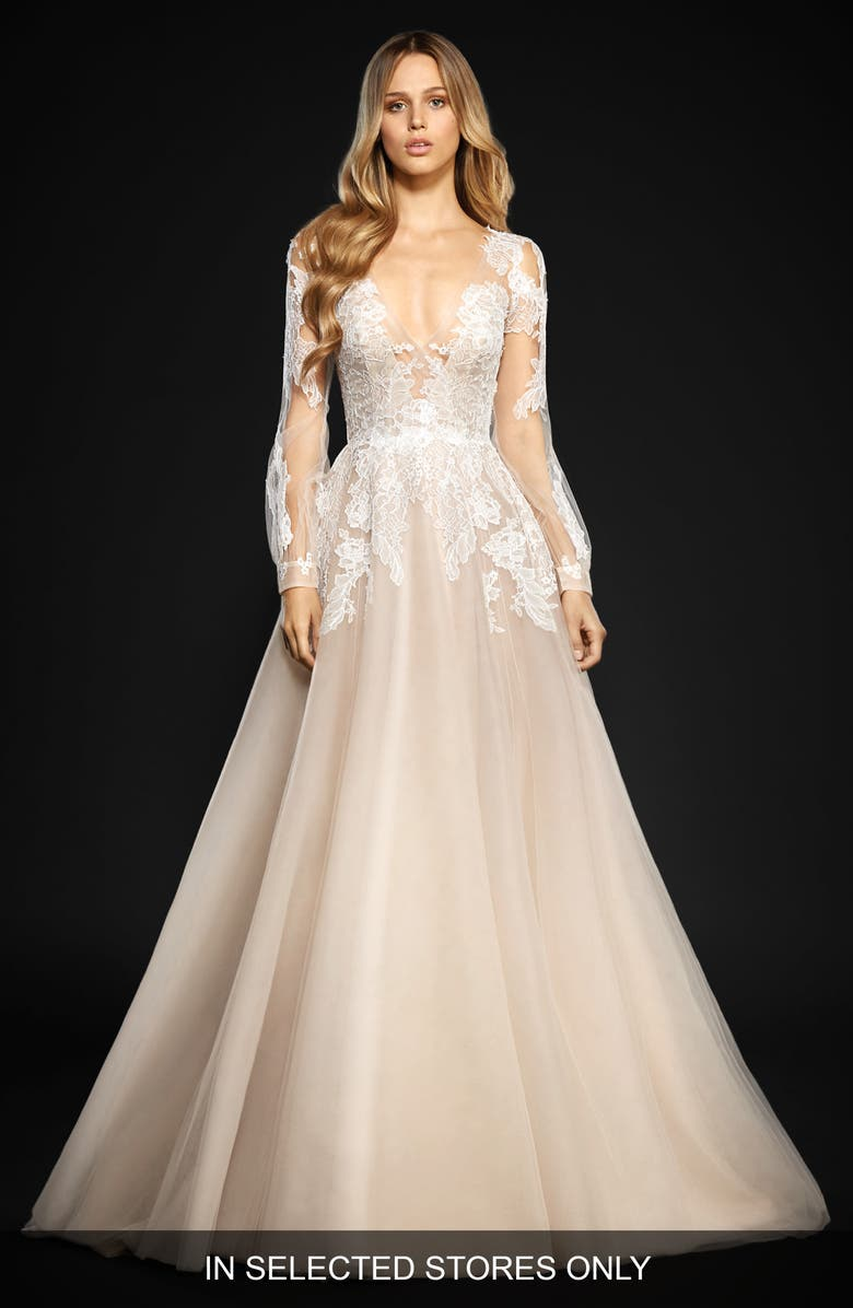 HAYLEY PAIGE Winnie Long Sleeve Lace & Tulle Ballgown, Main, color, CHARDONNAY