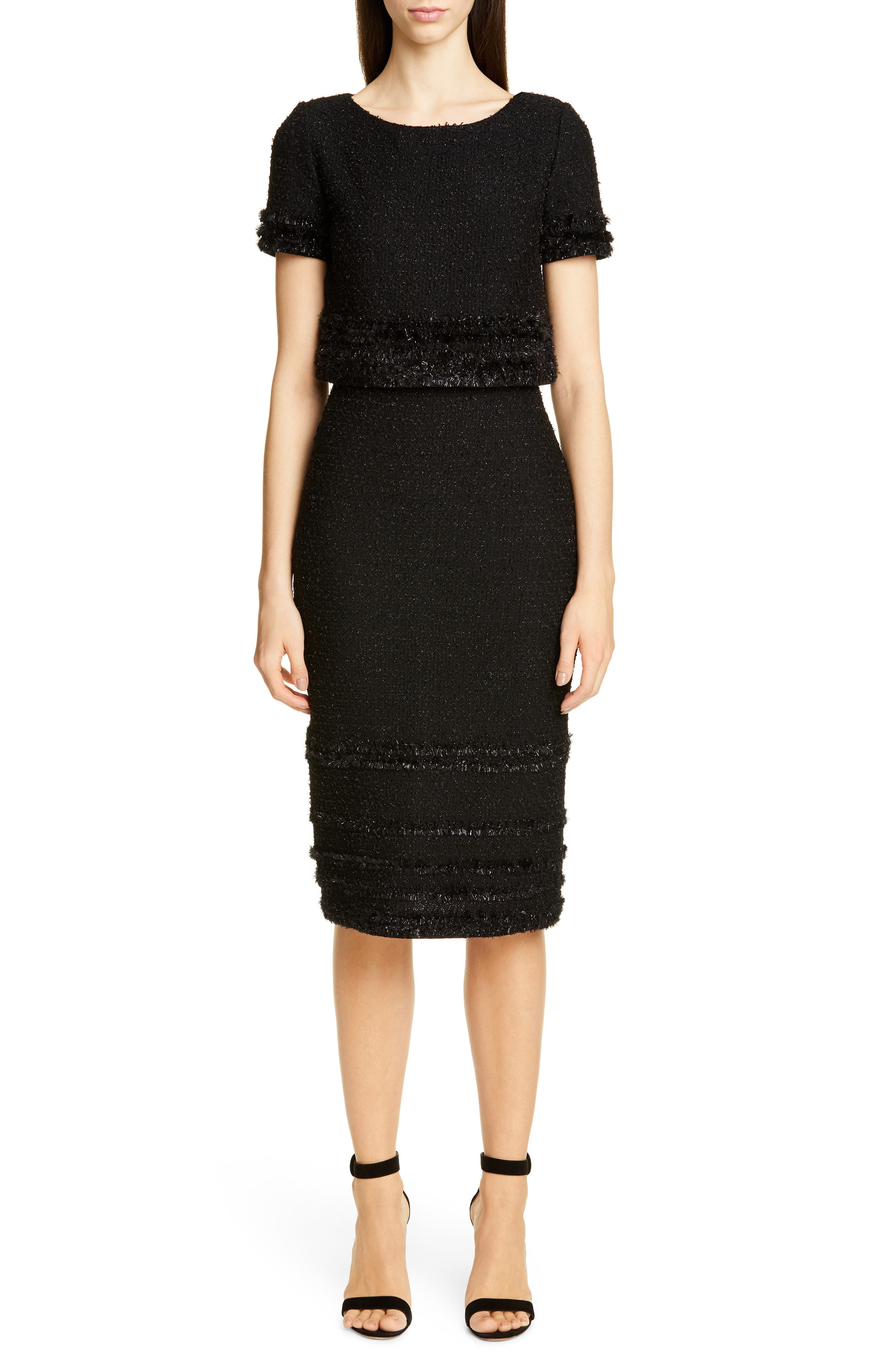 St. John Collection Glimmering Textured Tweed Popover Dress, Black
