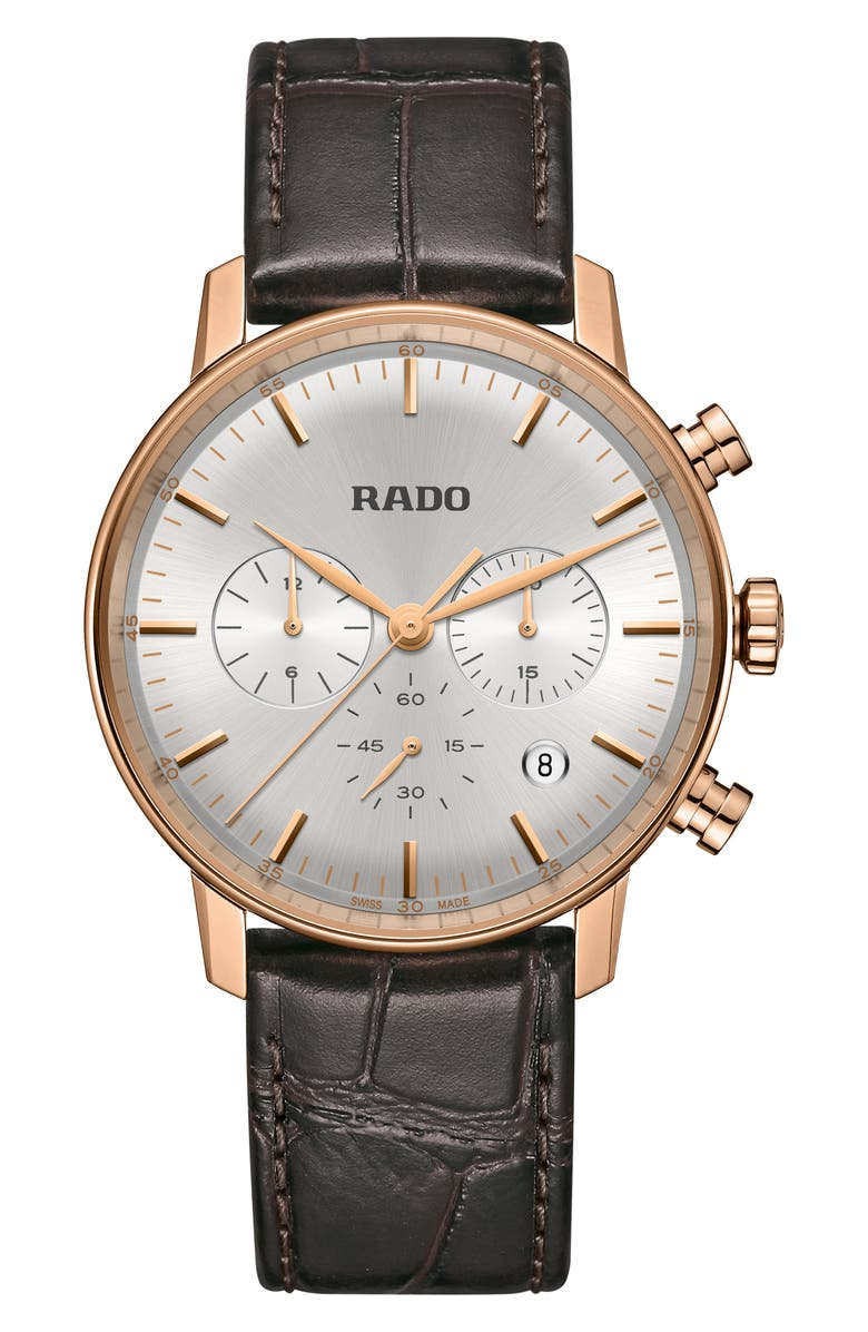 RADO Coupole Classic Chronograph Leather Strap Watch, 42mm, Main, color, BROWN/ SILVER/ ROSE GOLD
