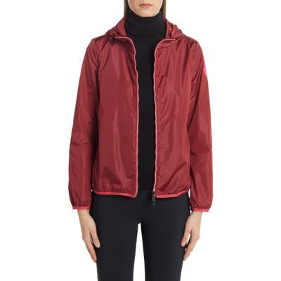 Moncler Invive Hooded Rain Jacket, 0 (fits like 00-0 US) - Red