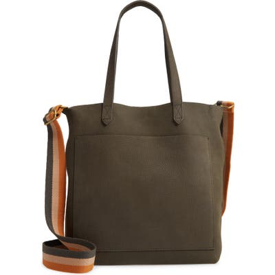 Madewell The Medium Nubuck Leather Transport Tote: Striped Strap Edition - Brown