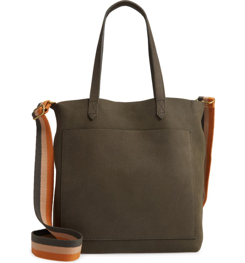 MADEWELL The Medium Nubuck Leather Transport Tote: Striped Strap Edition, Main, color, 200