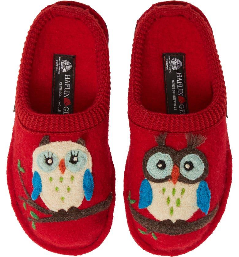 HAFLINGER Olivia Owl Slippers, Main, color, BRICK RED WOOL