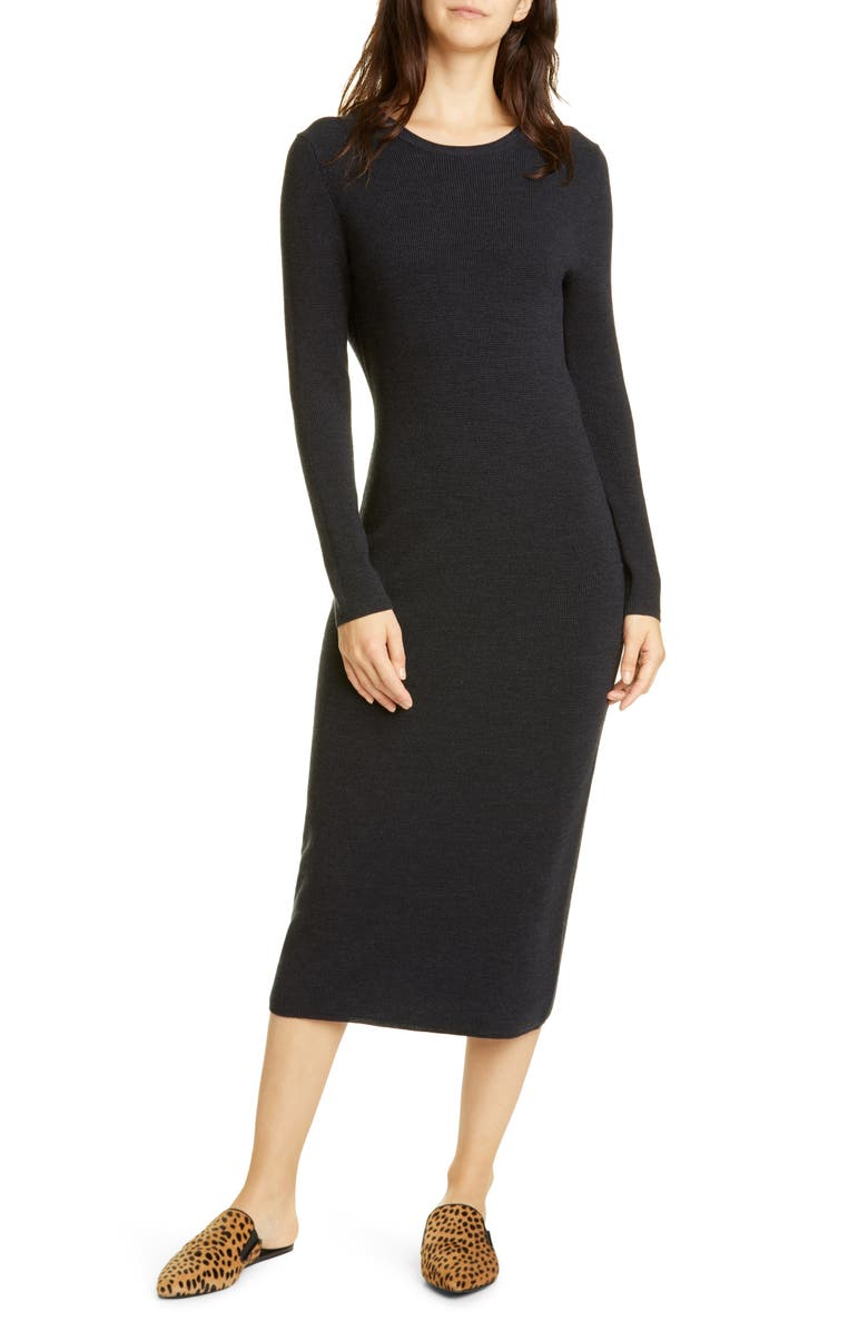 JENNI KAYNE Long Sleeve Merino Wool Midi Dress, Main, color, 020