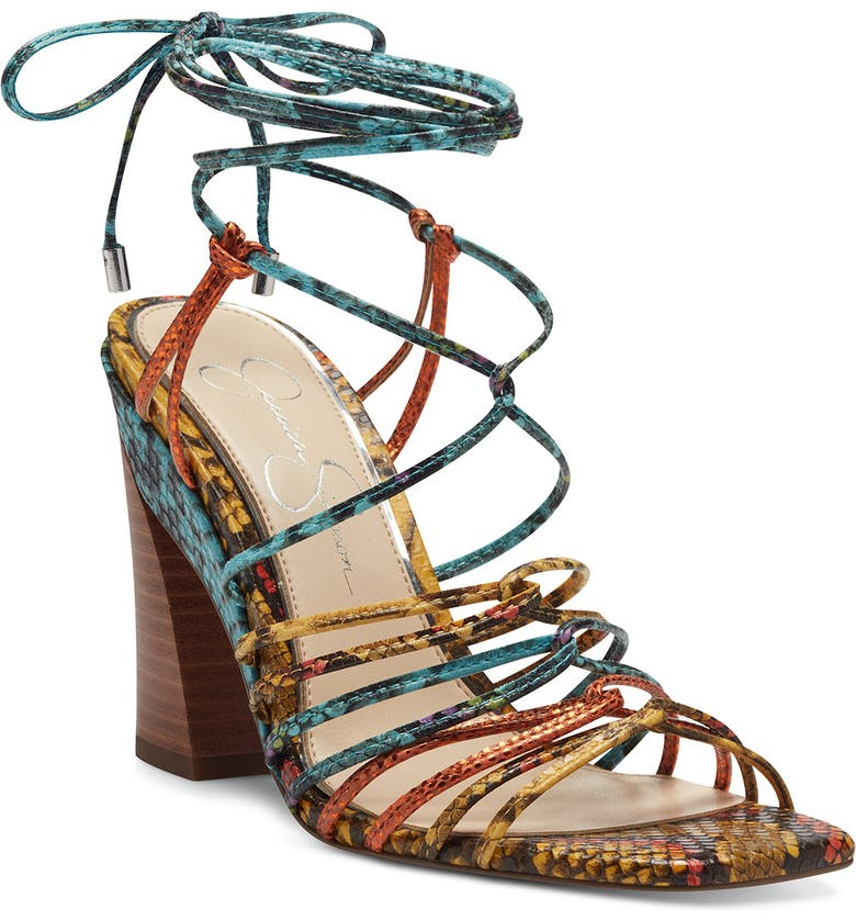 JESSICA SIMPSON Milaye Strappy Sandal, Main, color, MUSTARD COMBO FAUX LEATHER