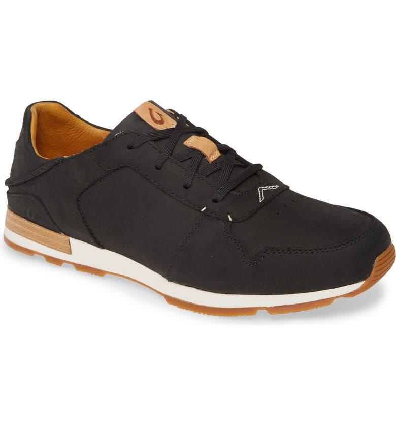 OLUKAI Huakai Li Sneaker, Main, color, BLACK / BLACK LEATHER