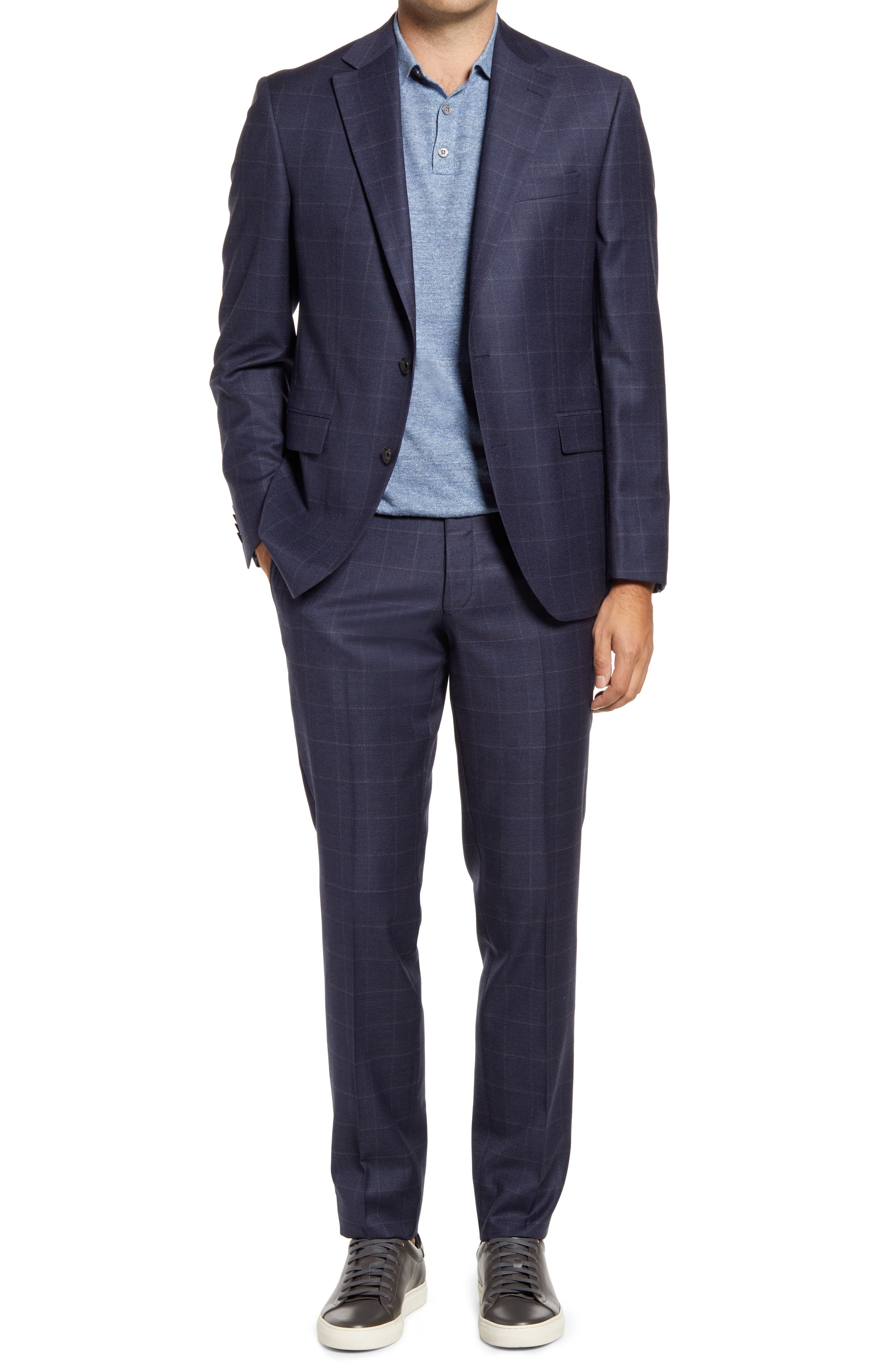 Esprit Contemporary Fit Navy Windowpane Check Wool Suit
