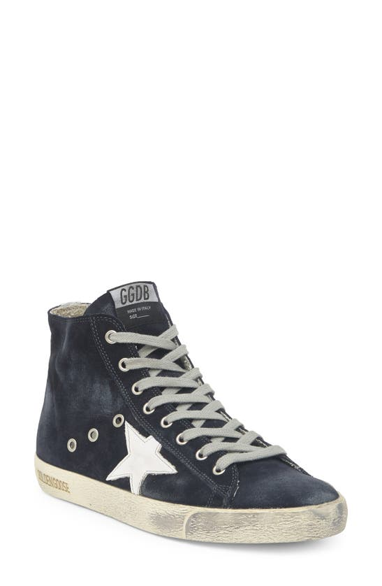 Golden Goose Francy Classic Suede High-top Sneakers In Night Blue/ White