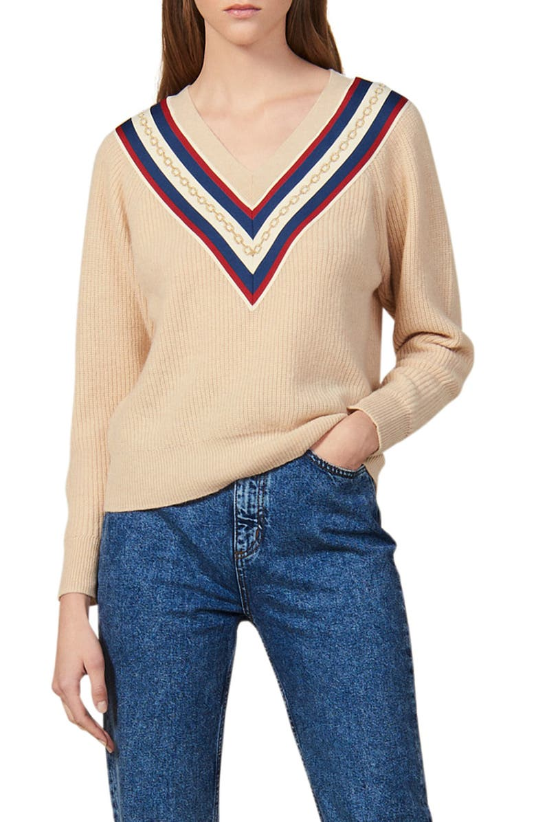 SANDRO Chains V-Neck Sweater, Main, color, BEIGE