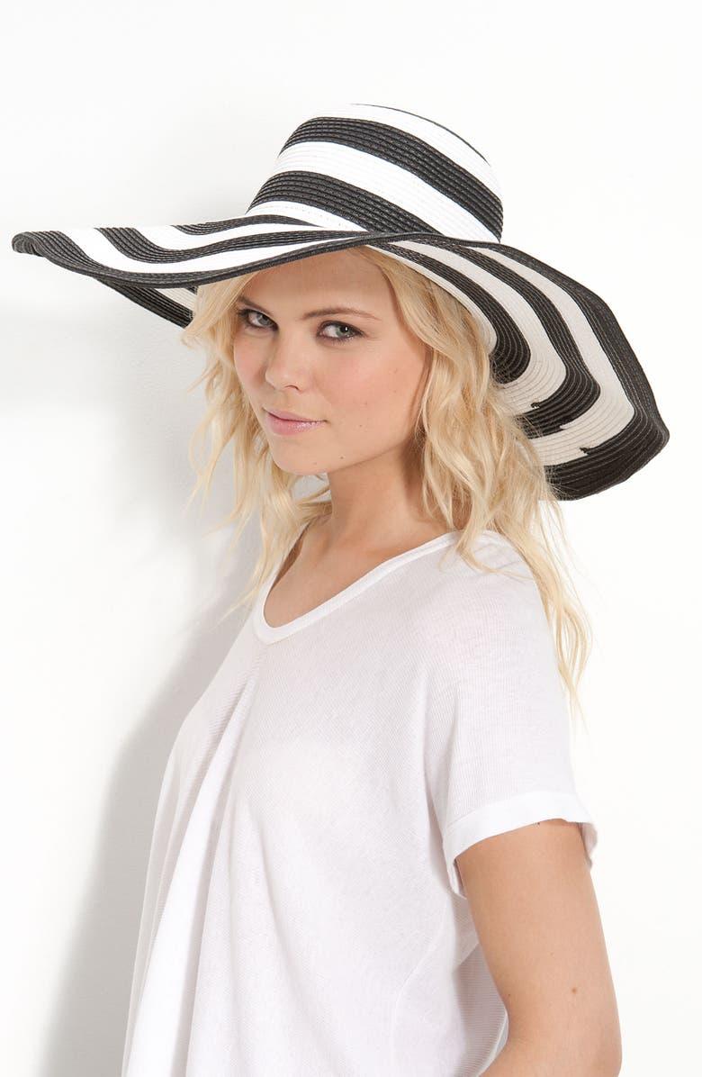 STEVE MADDEN Wide Brim Stripe Hat, Main, color, 001