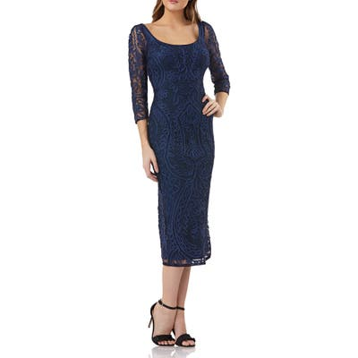 Js Collections Soutache Embroidered Dress, Blue