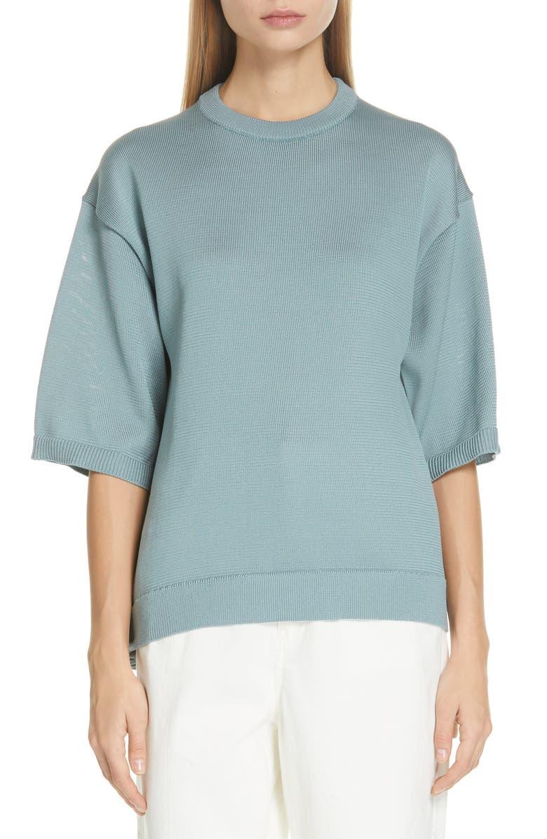 TIBI Corded Knit T-Shirt Sweater, Main, color, ASH MINT