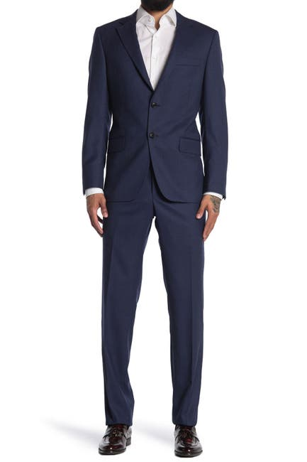 Image of Hickey Freeman Blue Check Two Button Notch Lapel Regular Fit Suit