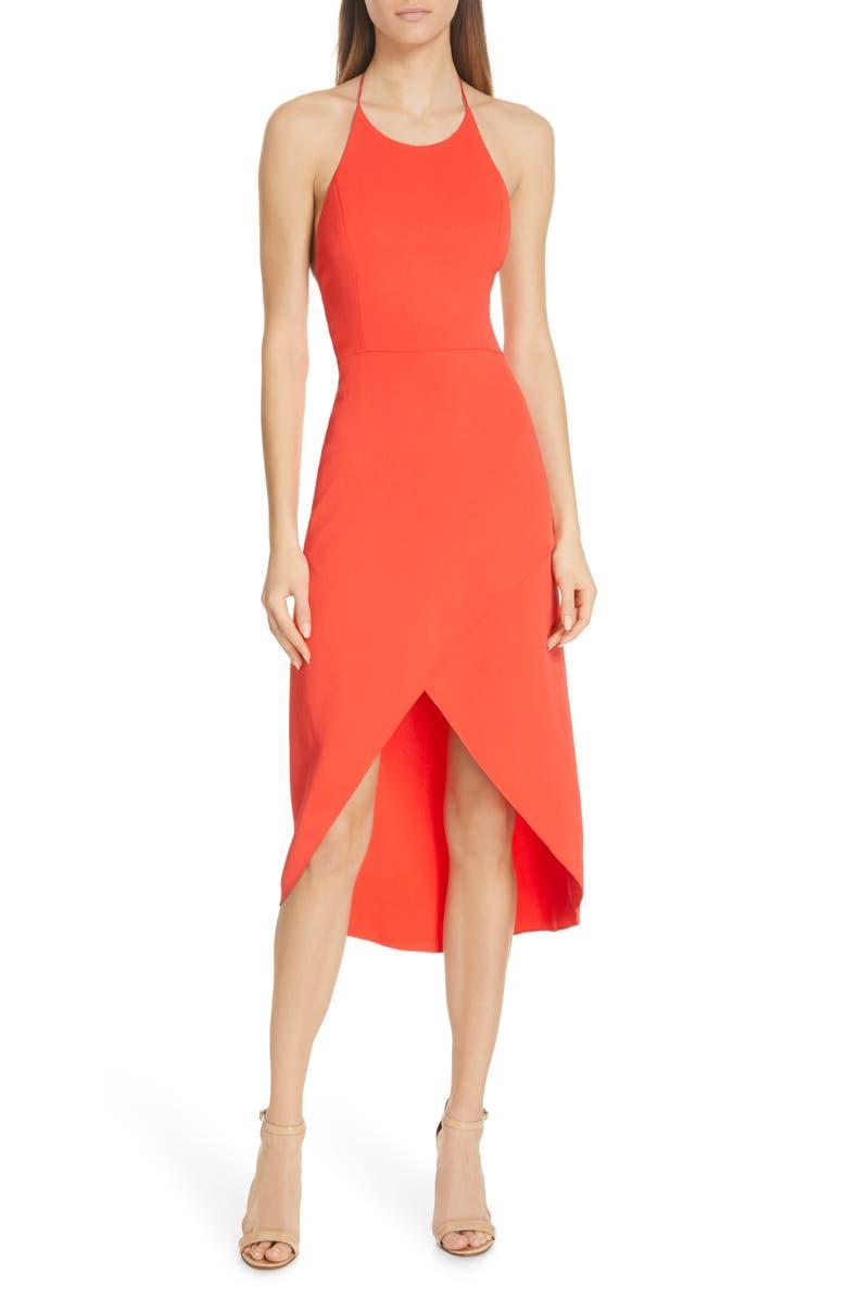 ALICE + OLIVIA Kristy Halter Neck High/Low Dress, Main, color, BRIGHT POPPY