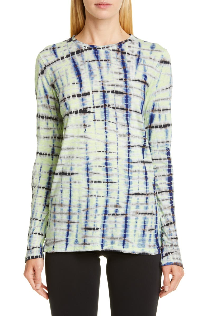 PROENZA SCHOULER Tie Dye Tissue Jersey Tee, Main, color, LIME/ COBALT