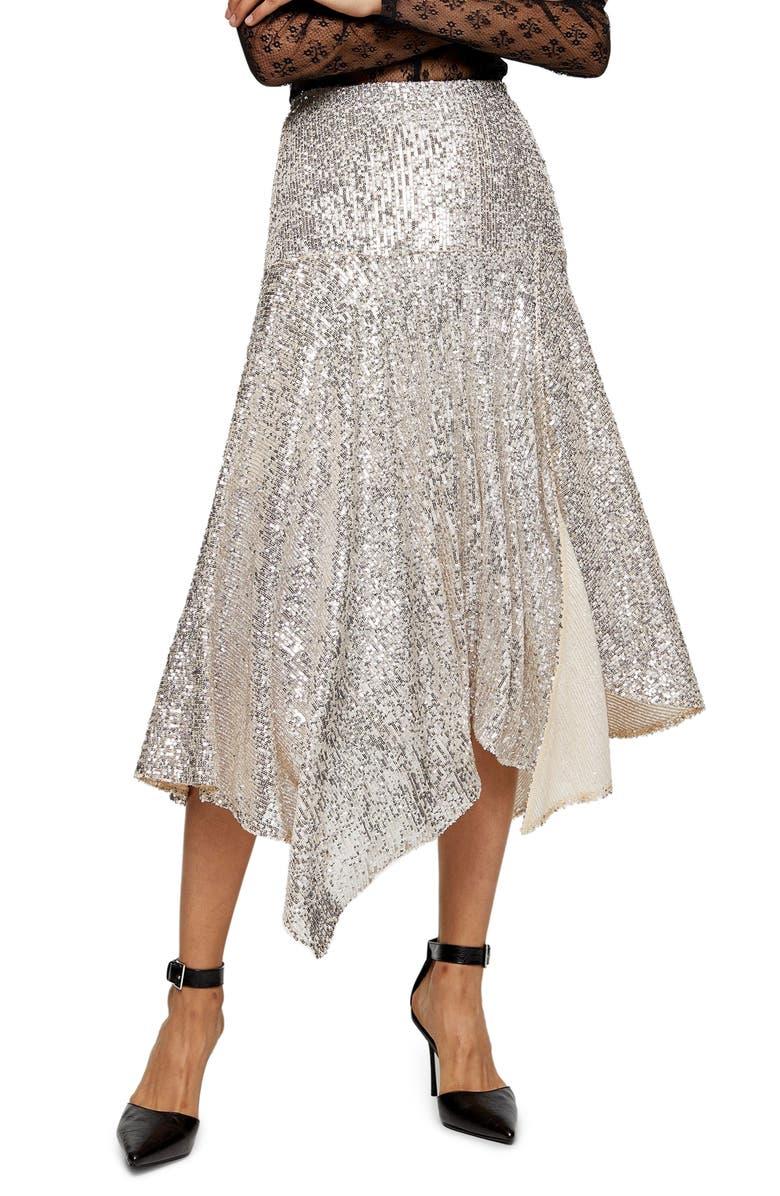 TOPSHOP Sequin Handkerchief Skirt, Main, color, SILVER