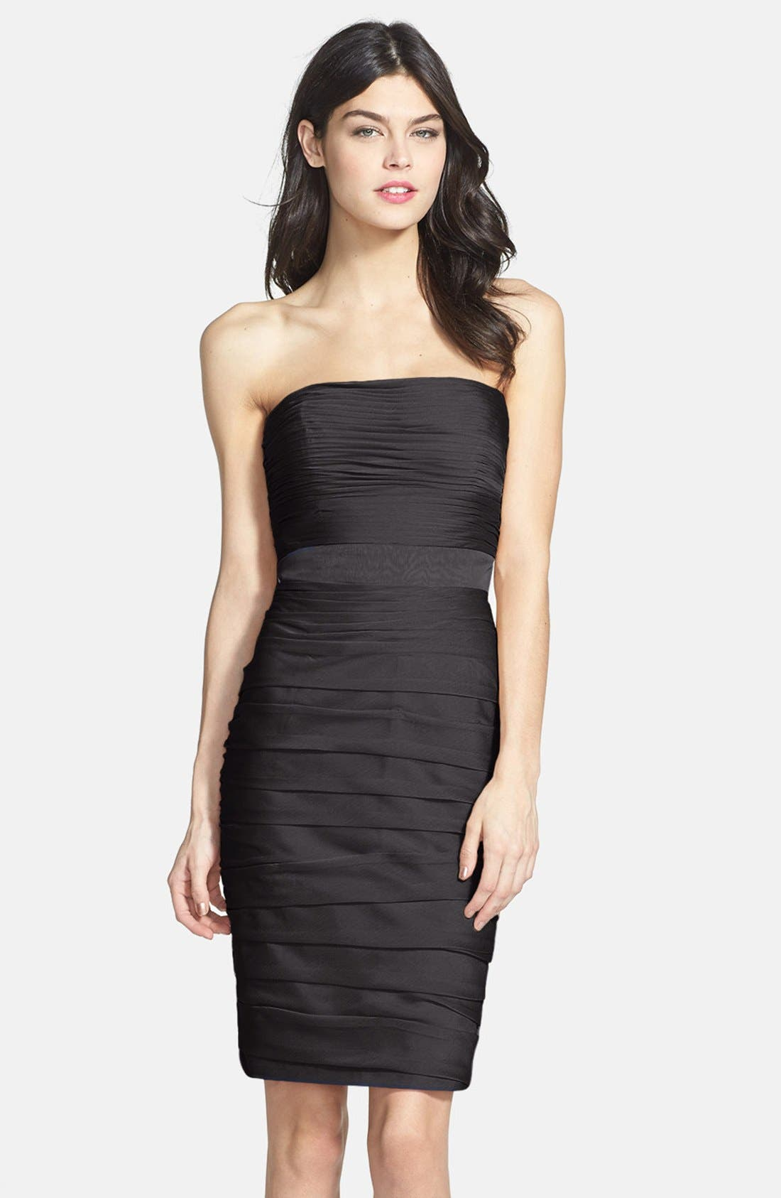 ,                             Ruched Strapless Cationic Chiffon Dress,                             Main thumbnail 1, color,                             001