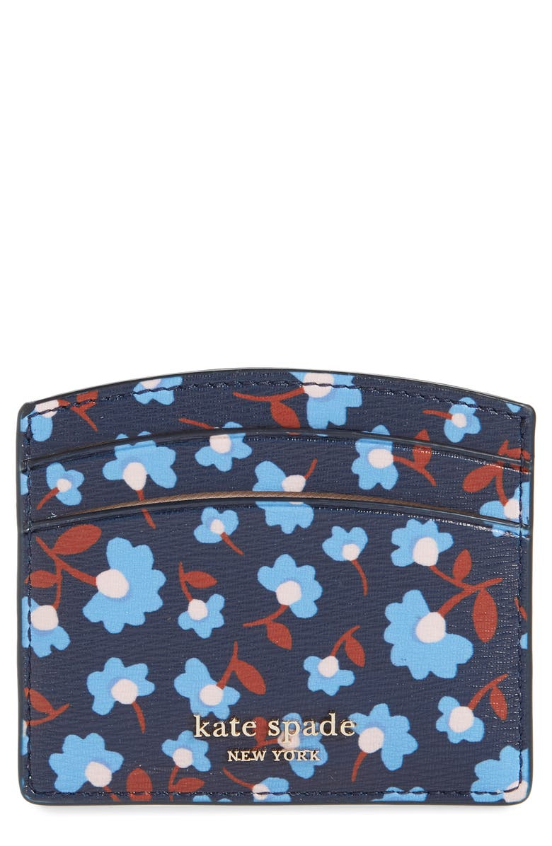 KATE SPADE NEW YORK spencer party floral faux leather card holder, Main, color, 400