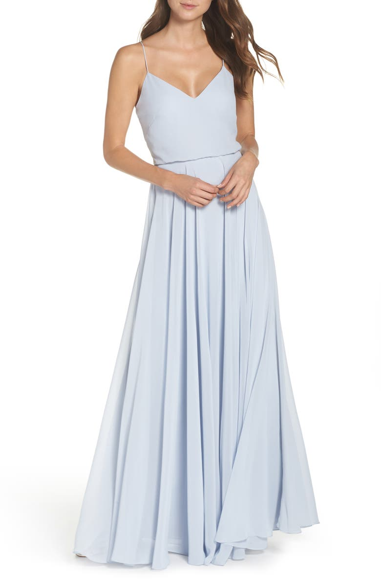 JENNY YOO Inesse Chiffon V-Neck Spaghetti Strap Gown, Main, color, WHISPER BLUE