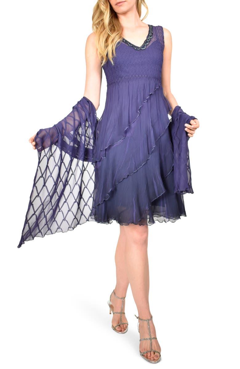 KOMAROV Tiered Chiffon Dress with Shawl, Main, color, NIGHT SHADE