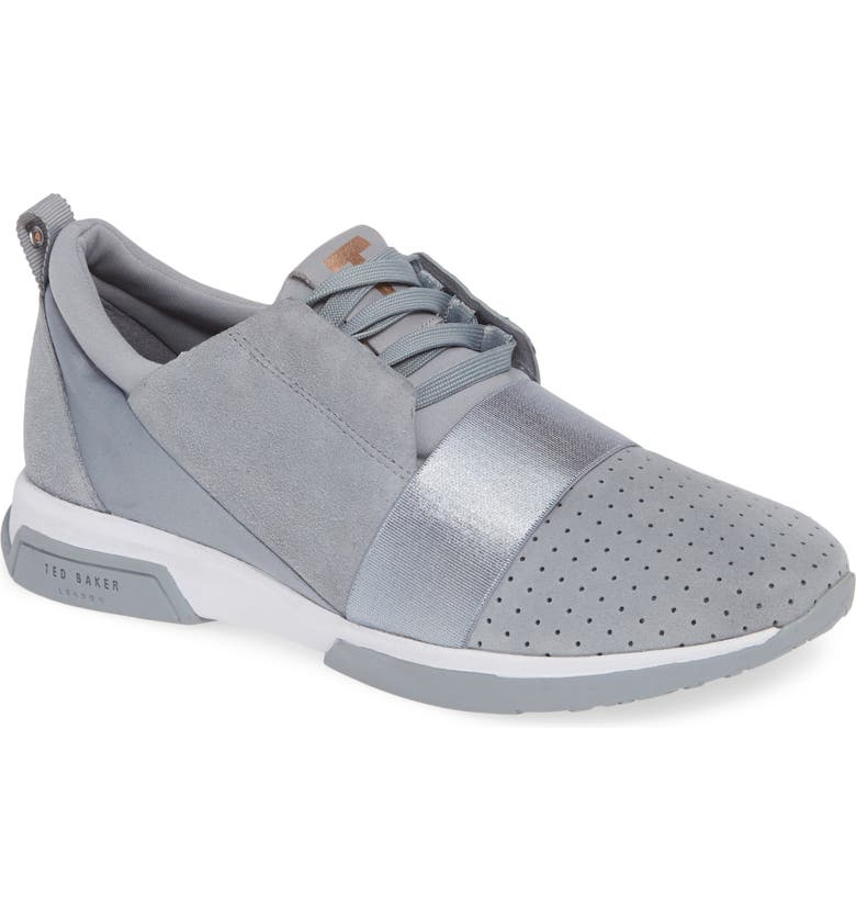 TED BAKER LONDON Cepap Sneaker, Main, color, SLATE GREY SUEDE/ SATIN