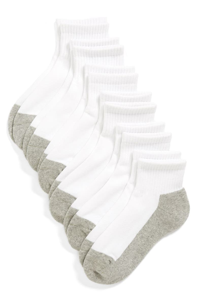 TUCKER + TATE 6-Pack Active Quarter Socks, Main, color, WHITE/ GREY
