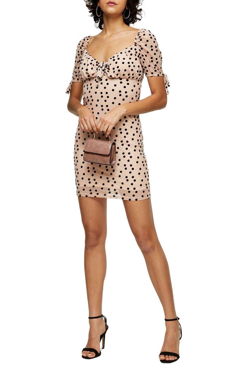 TOPSHOP Flocked Dot Tie Cuff Mesh Minidress, Main, color, BLUSH