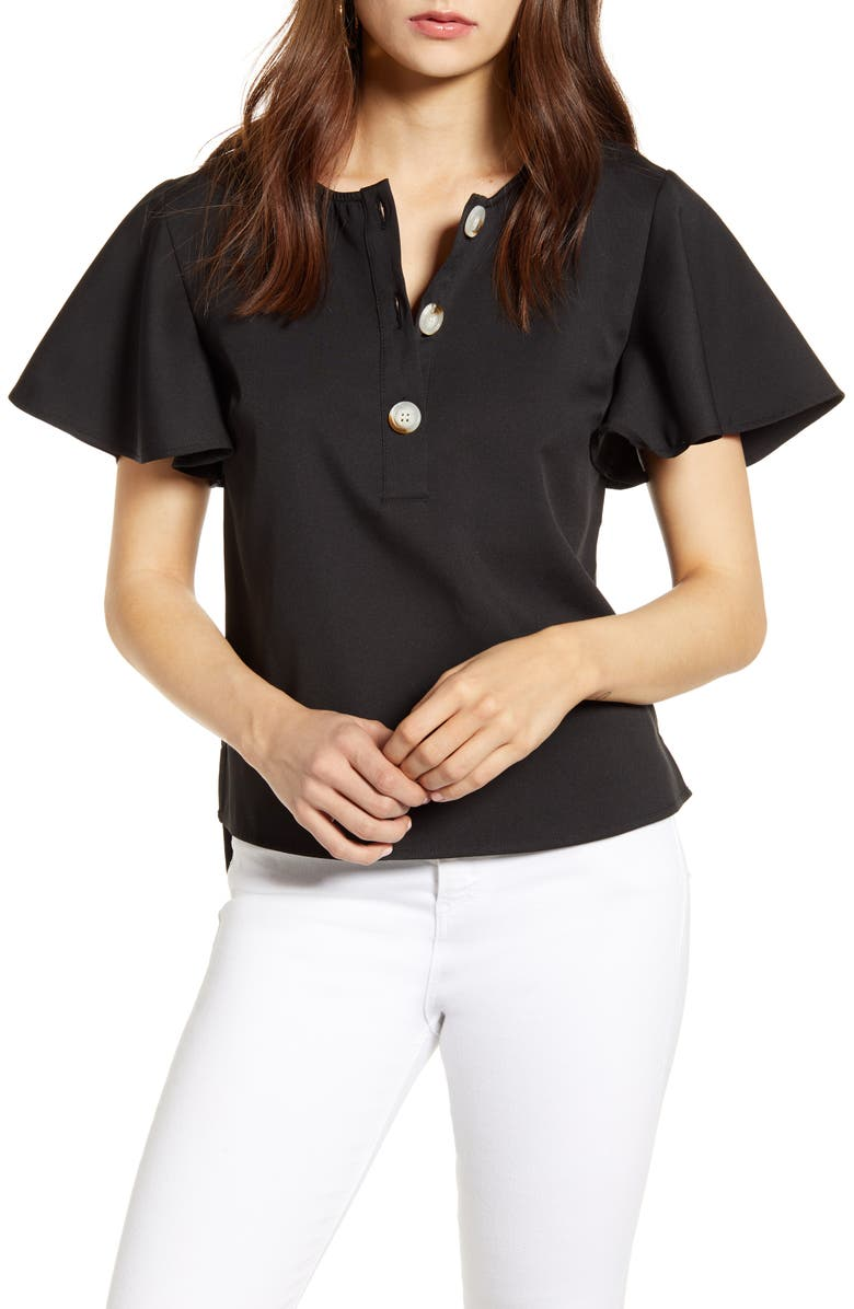 ENGLISH FACTORY Flutter Sleeve Henley Top, Main, color, 001