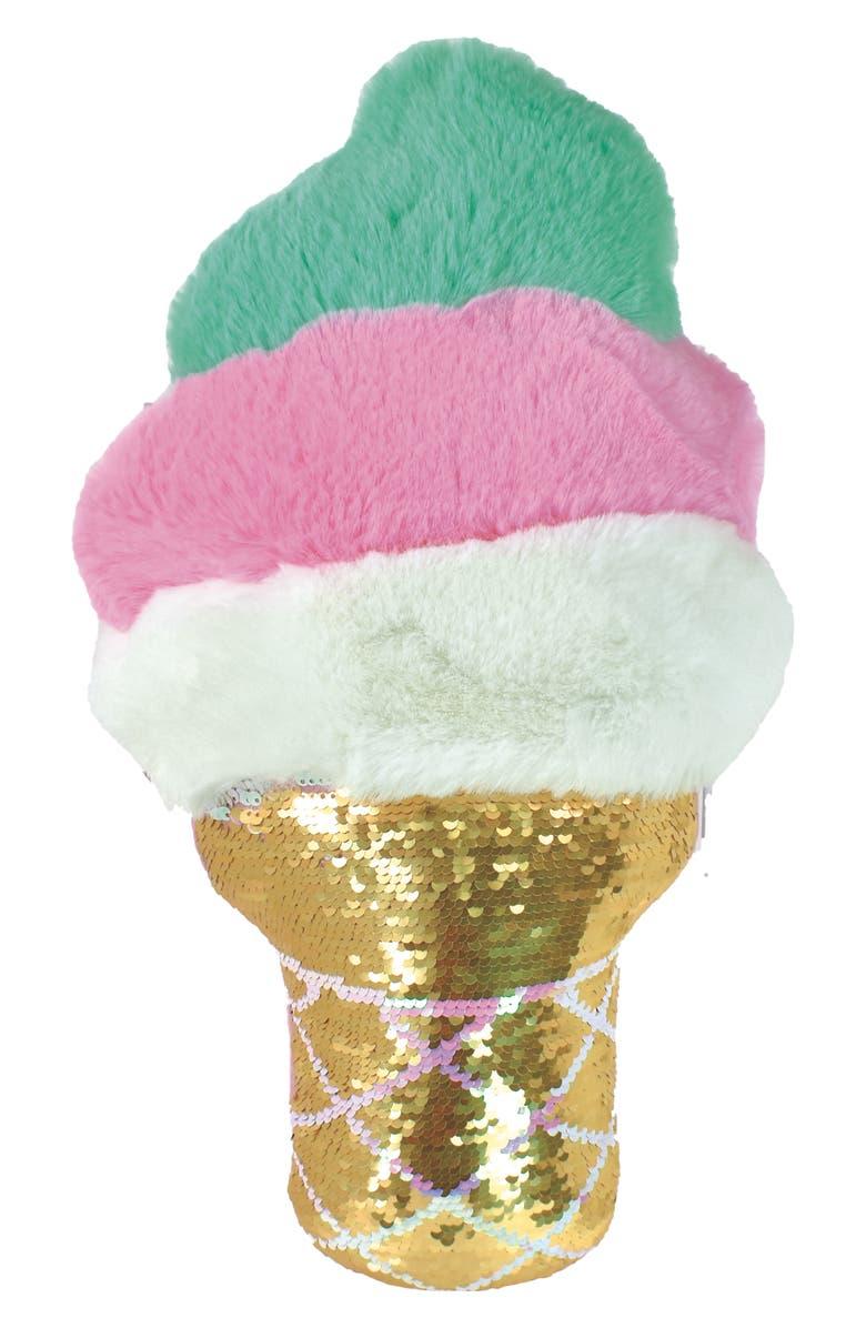 ISCREAM Ice Cream Cone Reversible Sequin Pillow, Main, color, MULTI