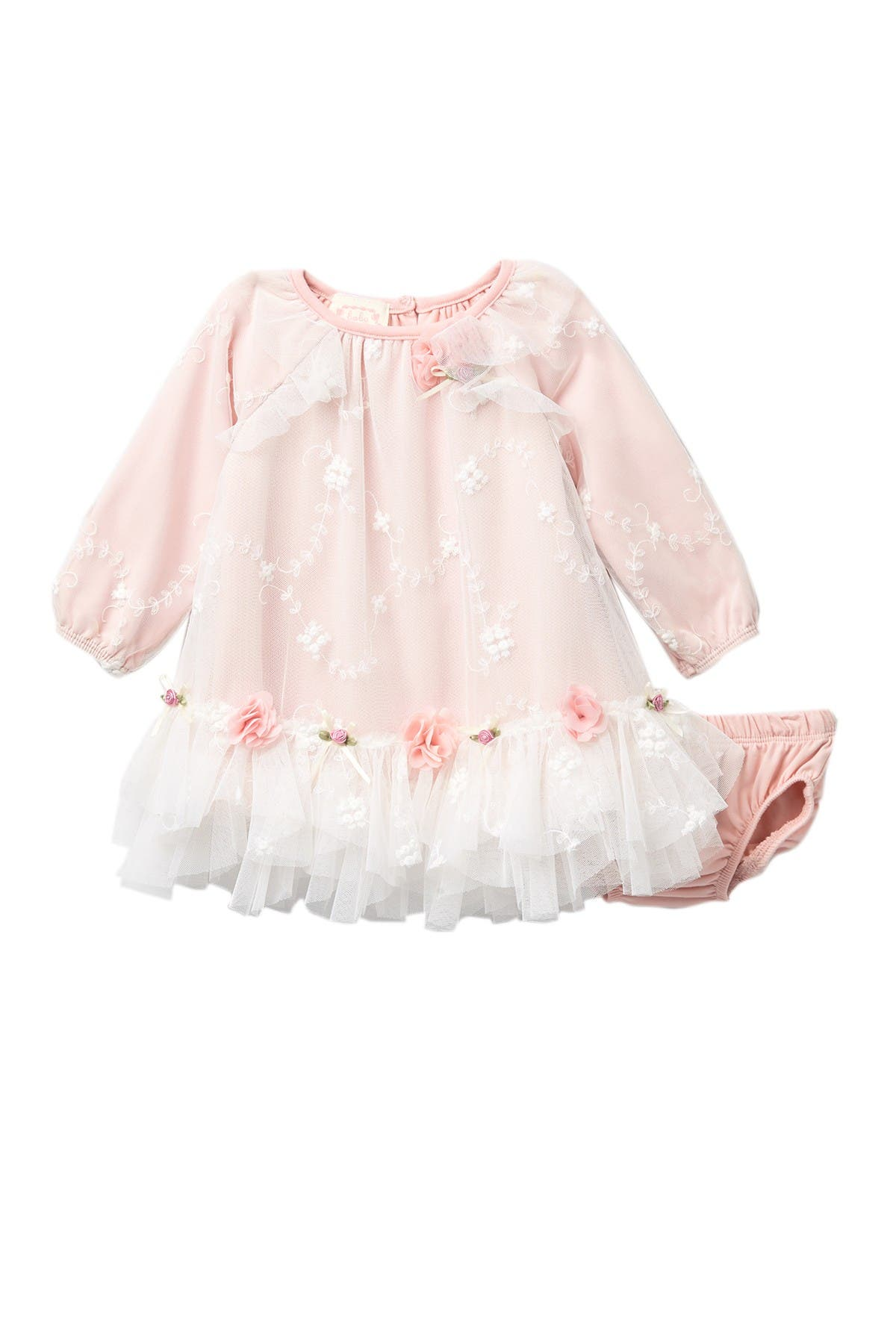Image of BISCOTTI Embroidered Mesh Dress Set (Baby Girls)