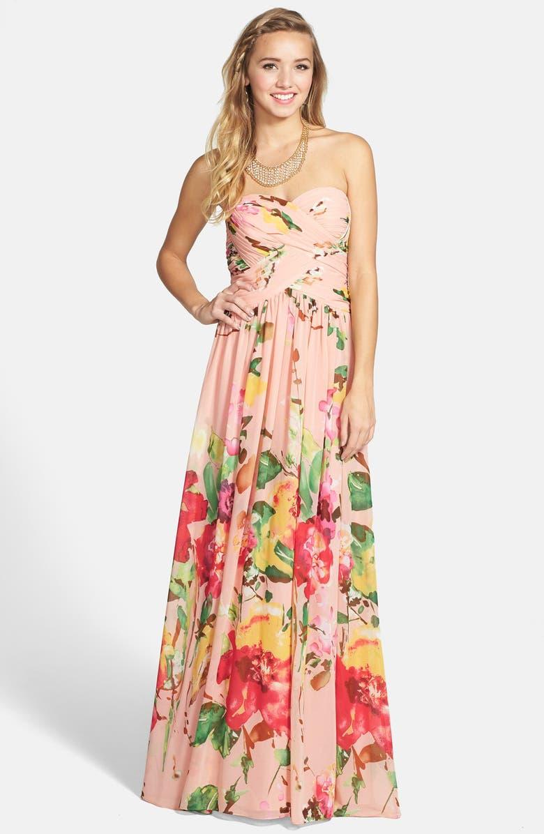 JS BOUTIQUE Floral Print Chiffon Strapless Gown, Main, color, 469