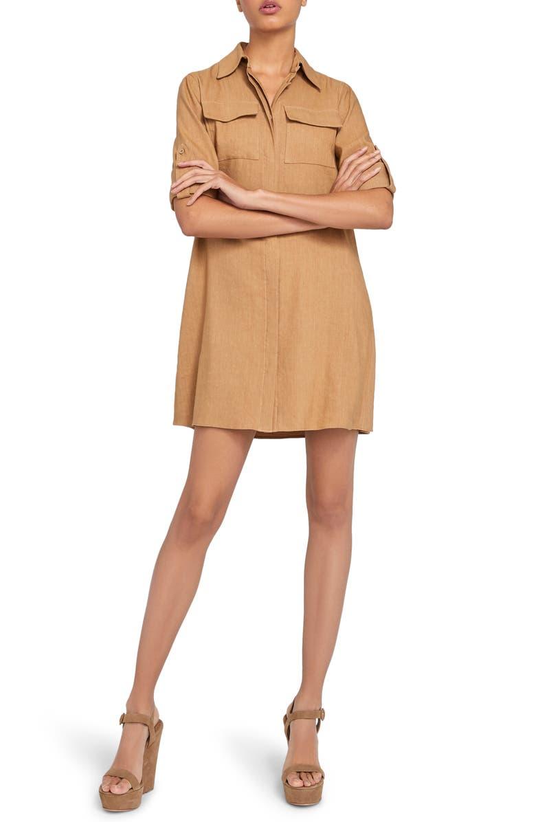 ALICE + OLIVIA Kiera Silk Mini Shirtdress, Main, color, 276