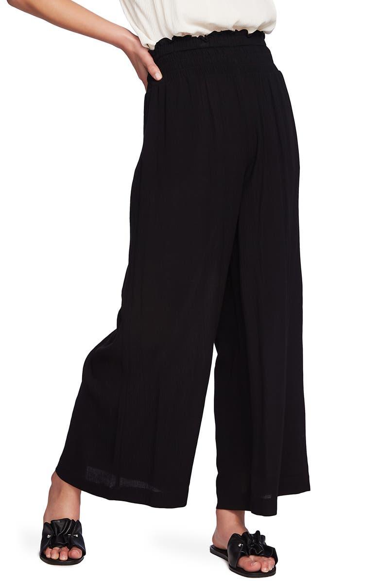 1.STATE Smocked Waist Wide Leg Pants, Main, color, RICH BLACK
