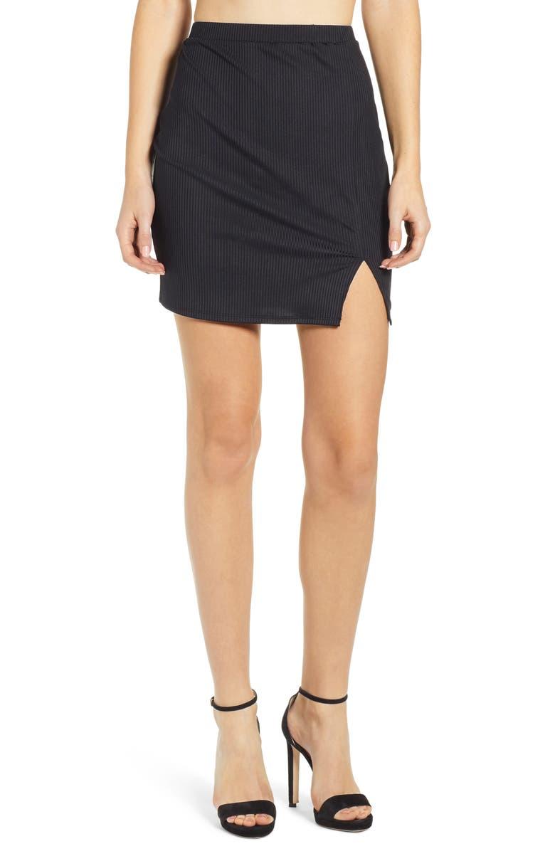 LEITH Ribbed Miniskirt, Main, color, 001