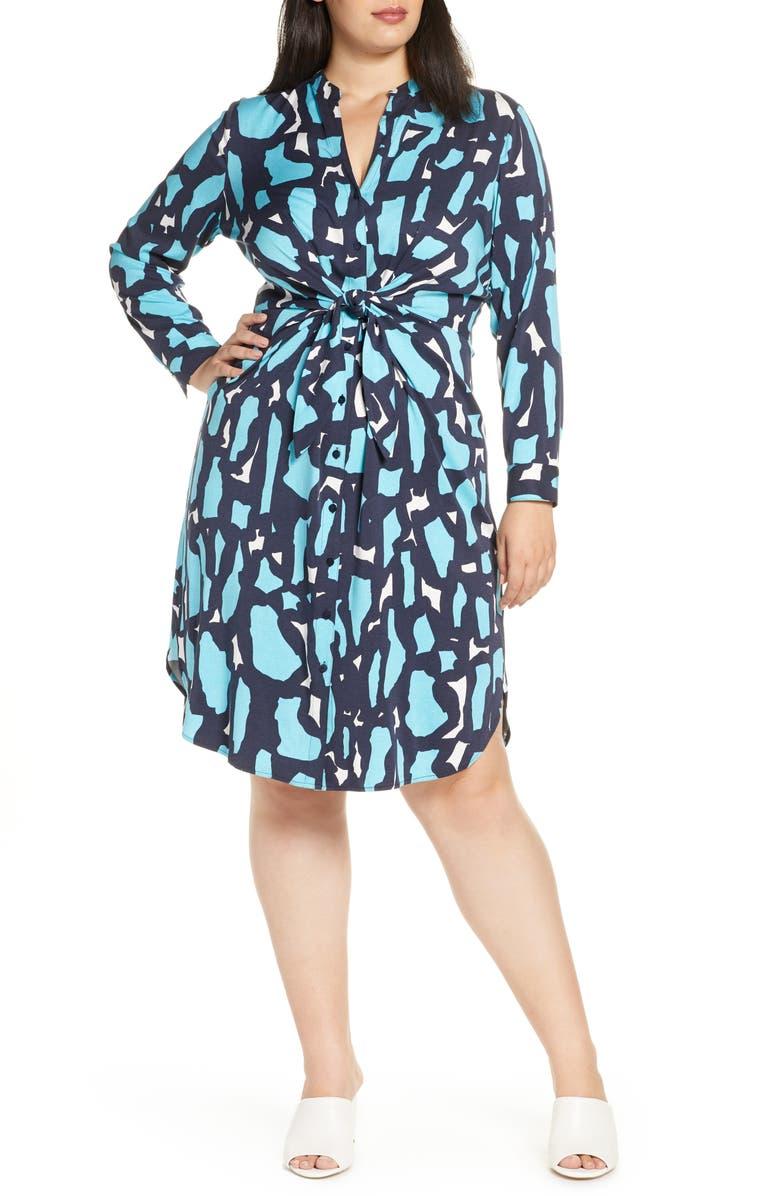 NIC+ZOE Vivid Giraffe Print Long Sleeve Shirtdress, Main, color, MULTI