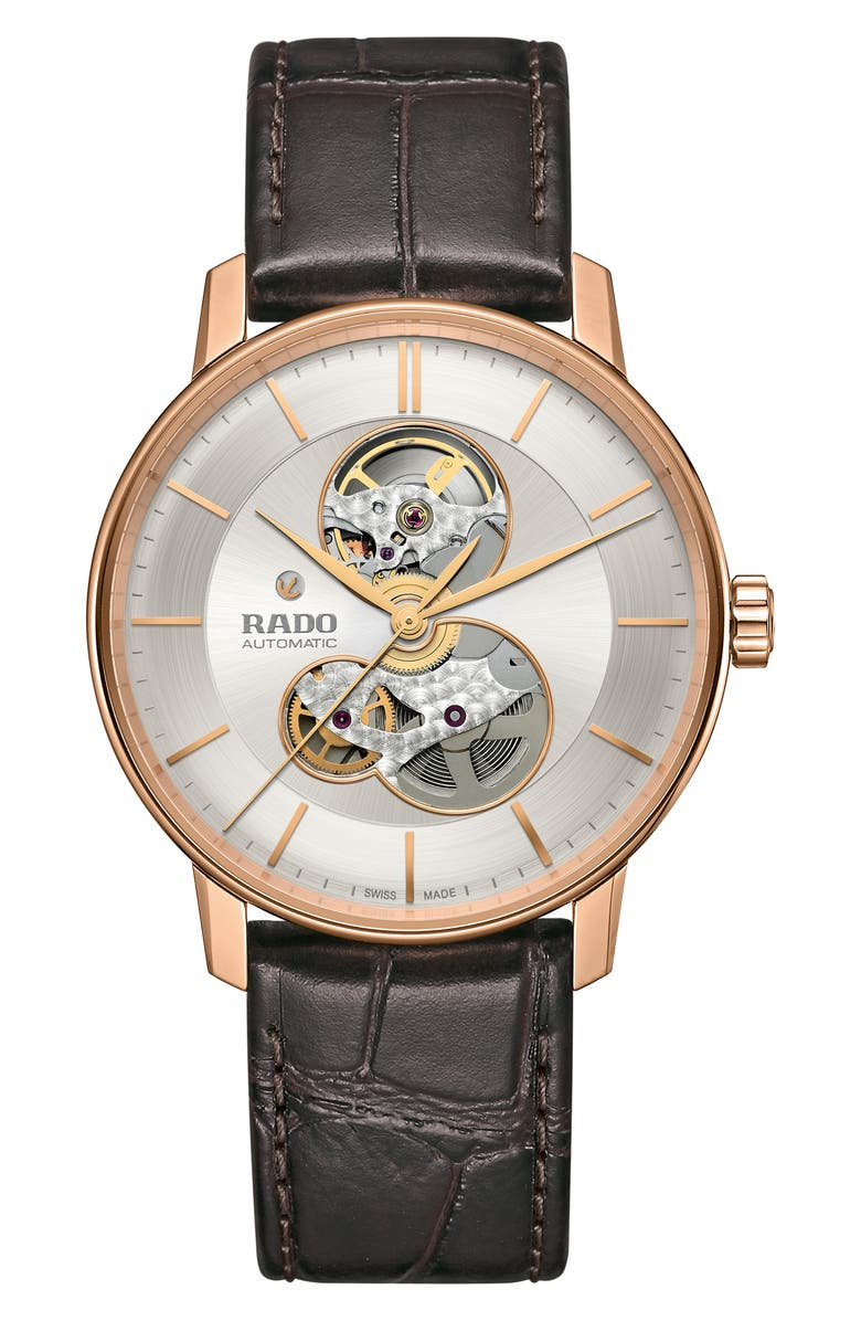 RADO Coupole Classic Automatic Leather Strap Watch, 41mm, Main, color, BROWN/ SILVER/ ROSE GOLD