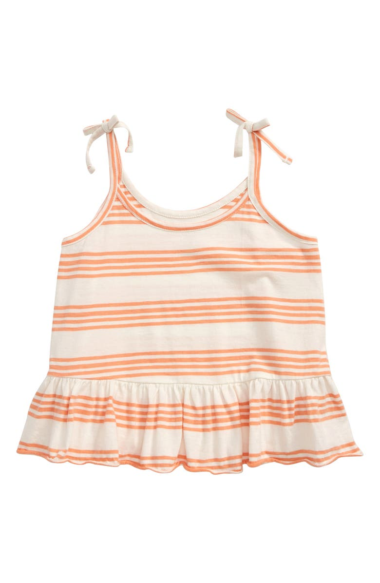 TREASURE & BOND Stripe Peplum Tank, Main, color, CORAL PINK- IVORY STRIPE