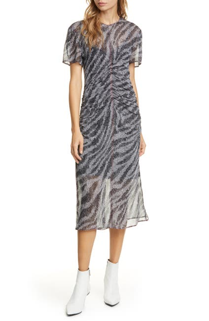 Image of Rag & Bone Maris Ruched Silk Midi Dress