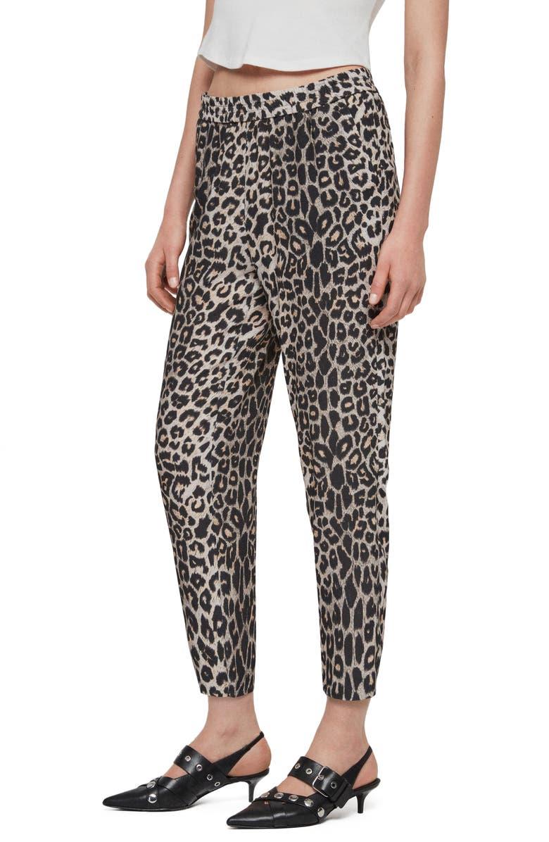 ALLSAINTS Neve Leopard Print Trousers, Main, color, LEOPARD YELLOW