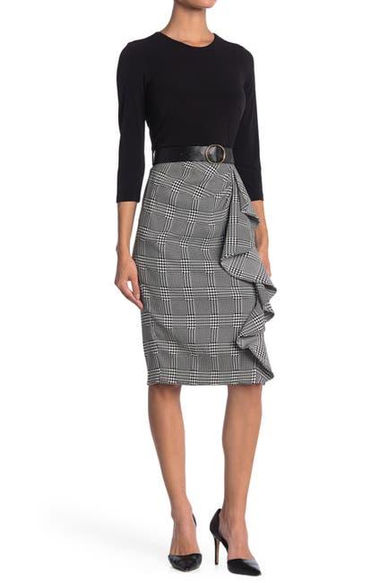 Image of Calvin Klein Belted Plaid Ruffle Skirt Dress