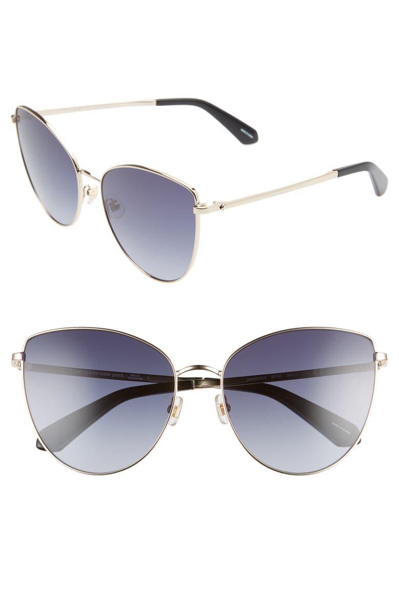 KATE SPADE NEW YORK dulce 59mm cat eye sunglasses, Main, color, BLACK/ DKGREY GRADIENT