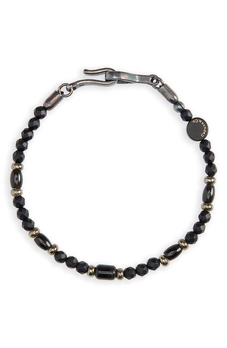 CAPUTO & CO. Warrior Stone Bead Bracelet, Main, color, BLACK ONYX/ PYRITE/ OBSIDIAN
