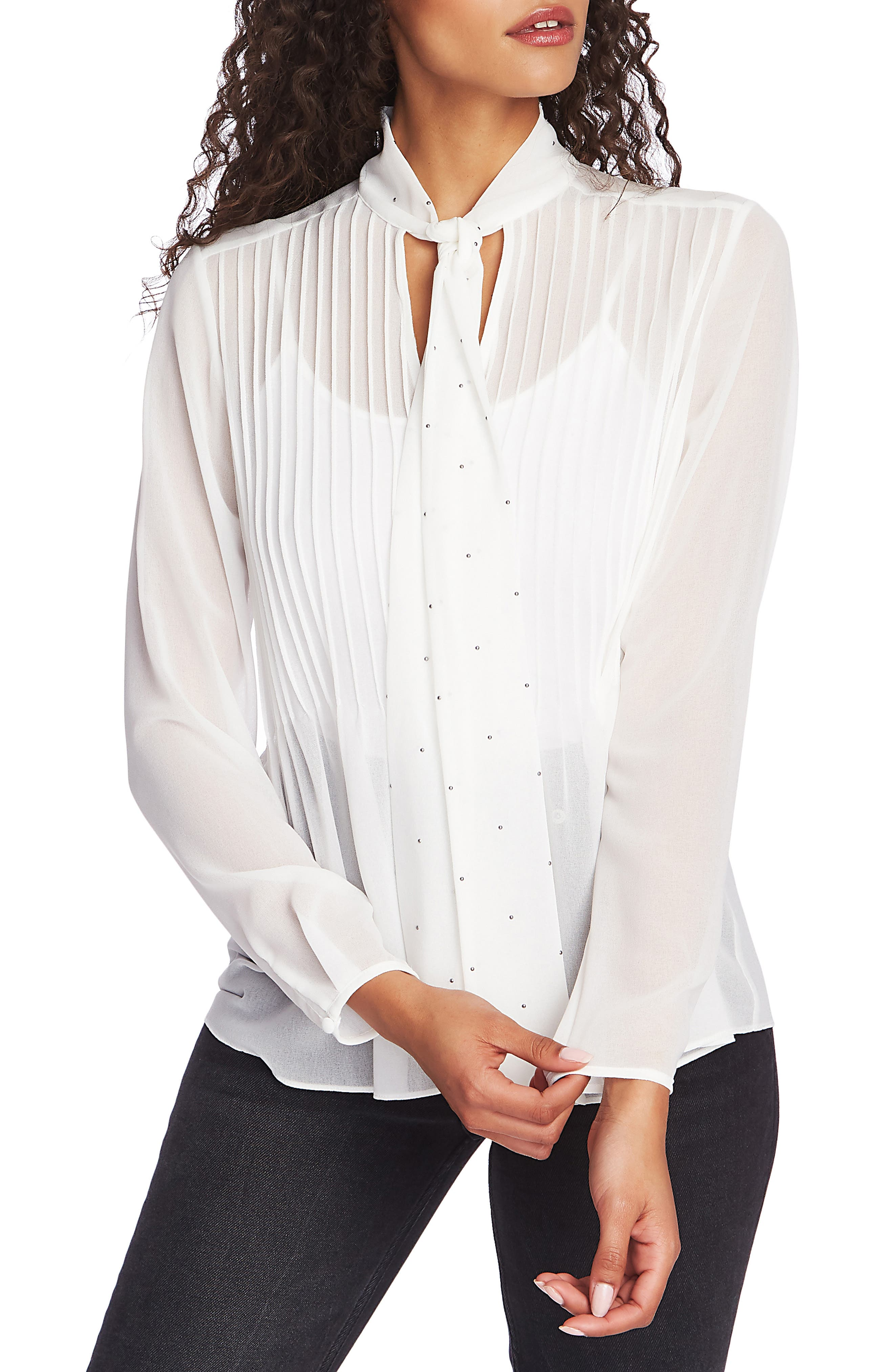 Tie Neck Pintuck Chiffon Blouse by 1.State