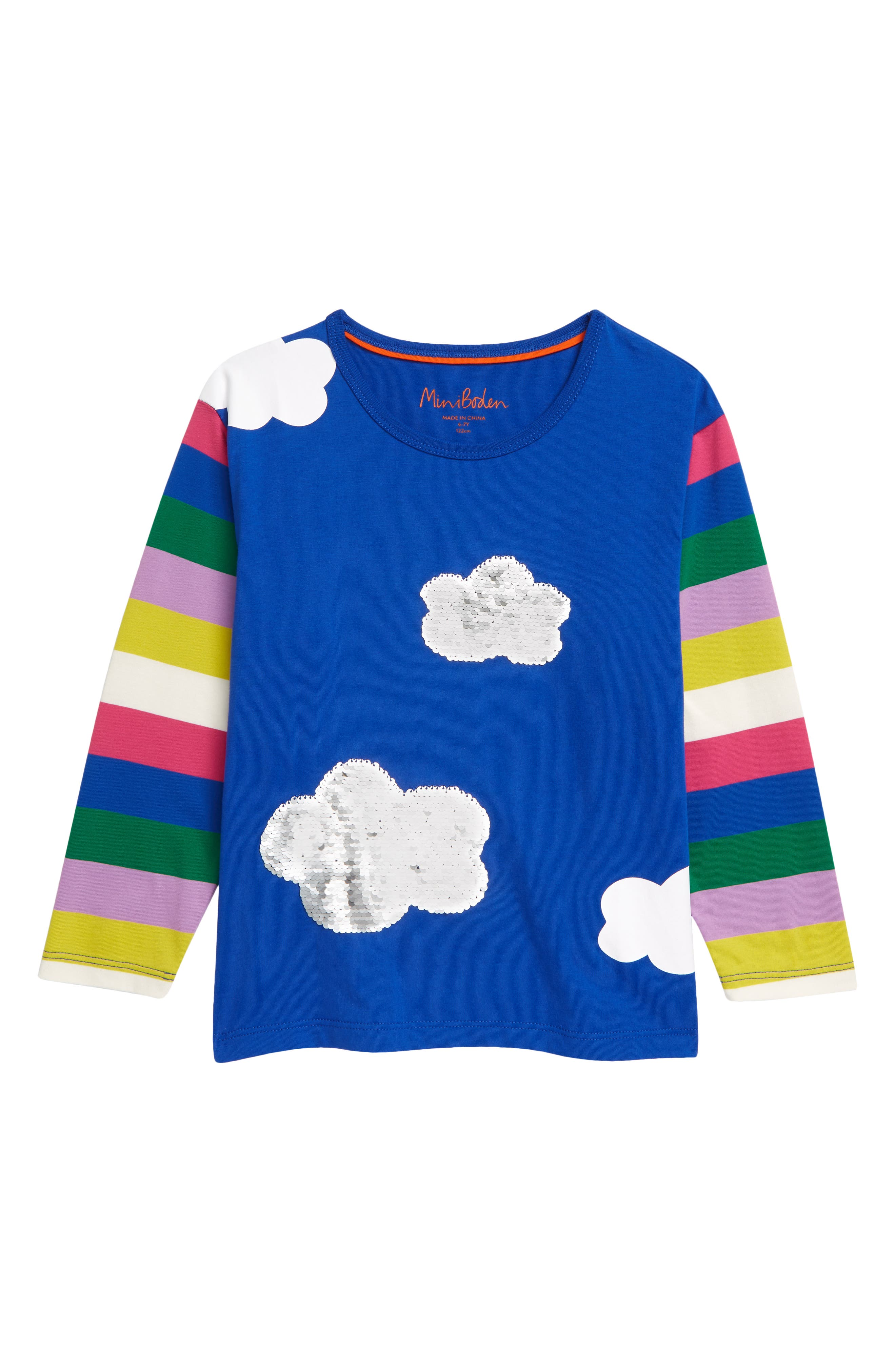 She\\\'ll love the blue sky and fluffy clouds on this cheerful T-shirt featuring fun sequins that can be flipped from silver to gold. Style Name: Mini Boden Kids\\\' Sequin Cloud T-Shirt (Toddler, Little Girl & Big Girl). Style Number: 6103059. Available in stores.