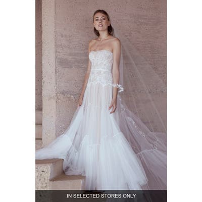 Watters Dita Strapless Lace & Tulle Wedding Dress, Size IN STORE ONLY - Ivory