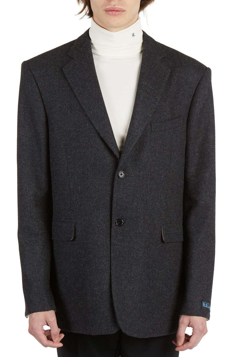 RAF SIMONS Straight Fit Wool Blazer, Main, color, ANTHRACITE